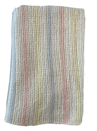 "Vtg Pastel Stripe Open Weave Acrylic Baby Blanket 28 x 36"" Pink Blue Yellow   eBay"