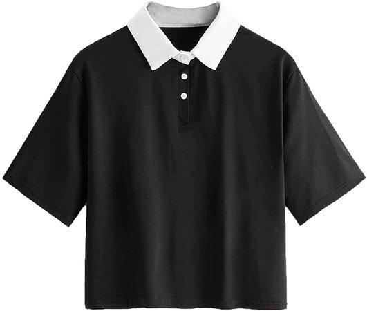 SweatyRocks Women's Collar Crop Top Striped Short Sleeve Cropped Tee T-Shirt Top Pink-2 Large at Amazon Women's Clothing store