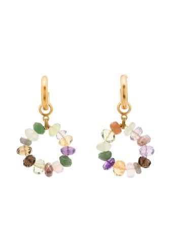 Shop Brinker & Eliza stone beaded hoop earrings with Express Delivery - FARFETCH