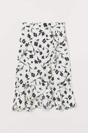 Flounced Wrapover Skirt - White