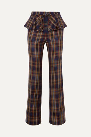Brown Layered checked twill straight-leg pants | Pushbutton | NET-A-PORTER