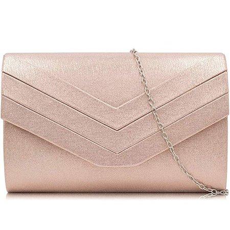 Milisente Evening Bag for Women, PU Leather Envelope Evening Purses Crossbody Shoulder Clutch Bag (PU Rose Gold): Handbags: Amazon.com