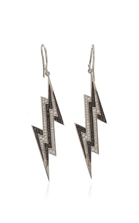 Lynn Ban Jewelry PAVE LIGHTNING BOLT EARRINGS