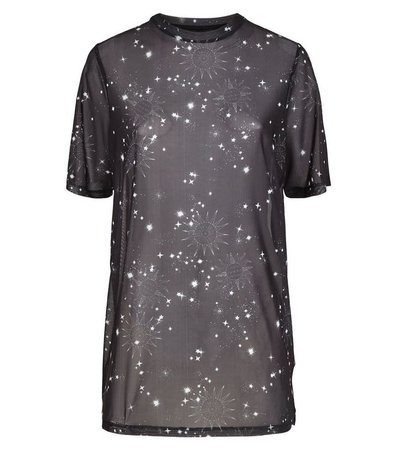 Black Cosmic Print Mesh T-Shirt | New Look