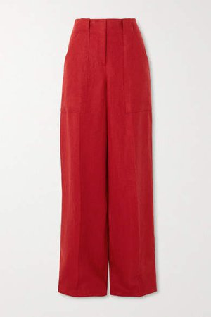 Linen Wide-leg Pants - Red