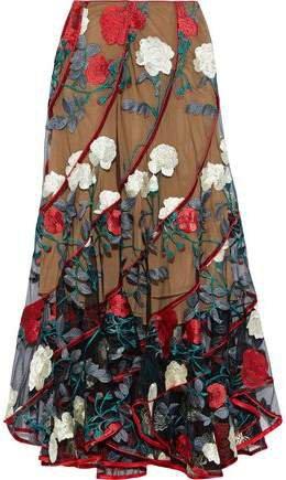 Satin-trimmed Embroidered Tulle Midi Skirt