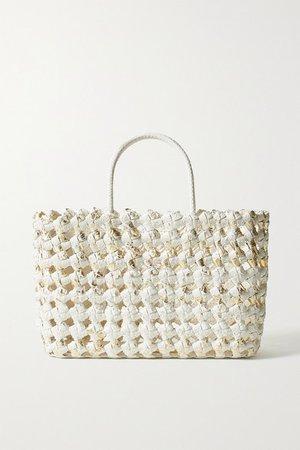 Glinda Metallic Woven Python Tote - White