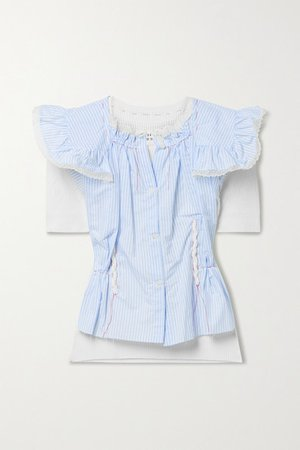 Layered Lace-trimmed Striped Voile And Pointelle-knit Cotton Top - Blue