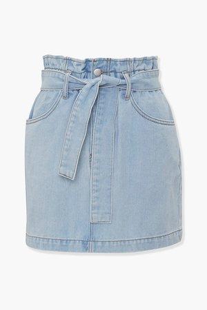 Paperbag Denim Mini Skirt | Forever 21