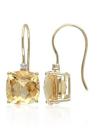 Belk & Co. 10k Yellow Gold Citrine and Diamond Earrings