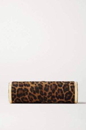 Roll Leopard-print Suede Clutch - Leopard print
