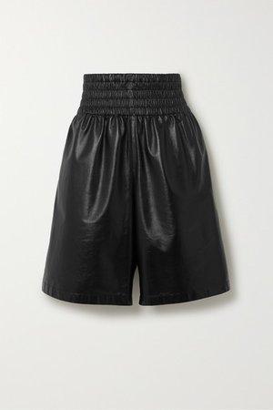 Shirred Leather Shorts - Black
