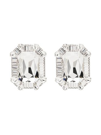 Alessandra Rich Square Crystal Clip Earrings - Farfetch