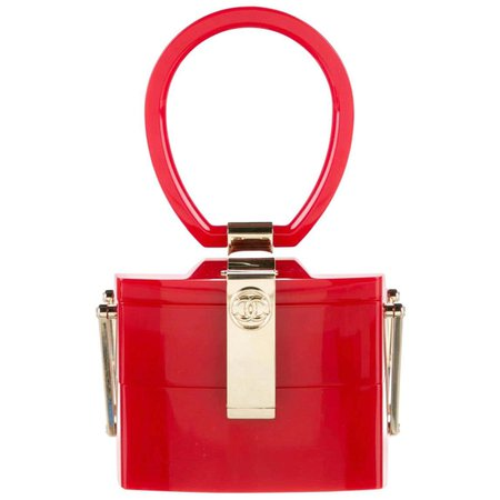 Chanel Runway Red Plexiglass Gold Small Mini Jewelry Box Top Handle Evening Bag For Sale at 1stDibs