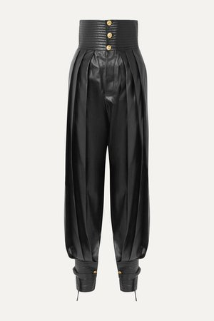Gucci | Pleated leather tapered pants | NET-A-PORTER.COM