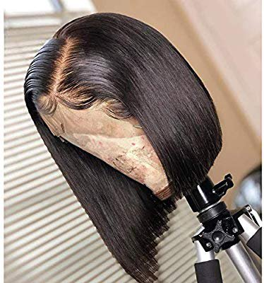 Amazon.com : 13x6 Deep Part Short Lace Front Wigs Human Hair With Baby Hair 180% Density Pre Plucked Bleached Knots Lace Front Wig Full End Brazilian Short Bob Wigs(14inch) : Beauty