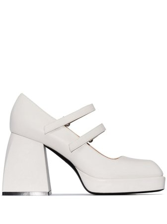Shop white Nodaleto Babies Bulla 85mm Mary Jane leather pumps with Express Delivery - Farfetch
