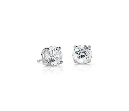 Diamond Stud Earrings in Platinum (4 ct. tw.) | Blue Nile