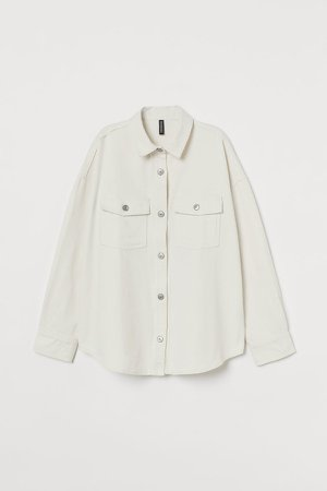 Oversized Denim Shirt - White