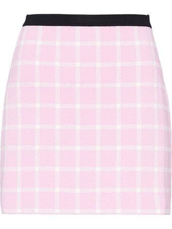 Shop Miu Miu windowpane-pattern mini skirt with Express Delivery - FARFETCH