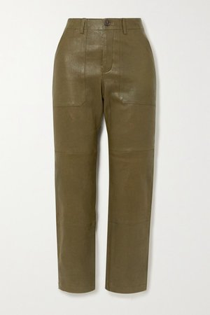 Leather Straight-leg Pants - Army green