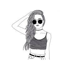 black and white doodles girls - Google Search