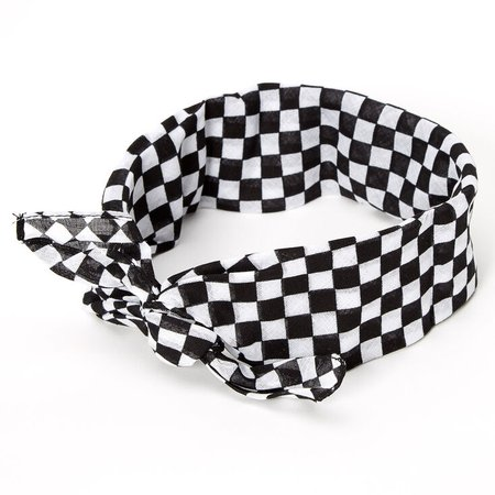 *clipped by @luci-her* Black & White Checkered Bandana Headwrap | Claire's US