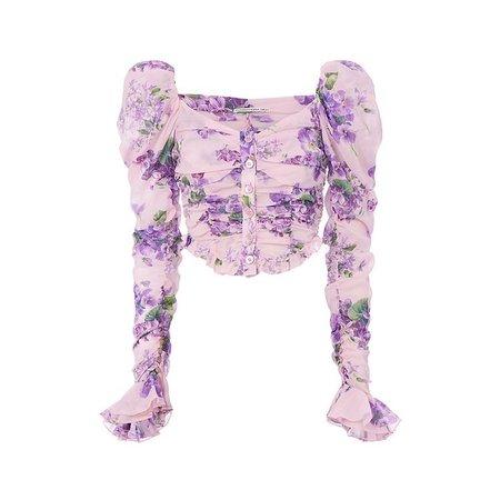 Puff Shoulder Violet Floral Blouse