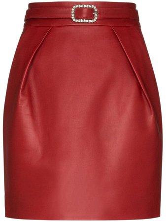 Crystal-Embellished Leather Mini Skirt