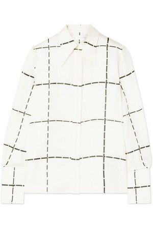 Victoria Beckham | Checked silk-twill shirt | NET-A-PORTER.COM