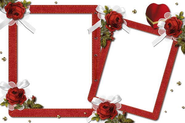 Double Romantic Transparent Photo Frame with Roses​ | Gallery Yopriceville - High-Quality Images and Transparent PNG Free Clipart