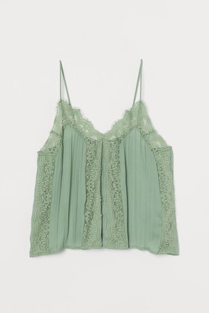 Camisole Top with Lace - Green - Ladies   H&M US