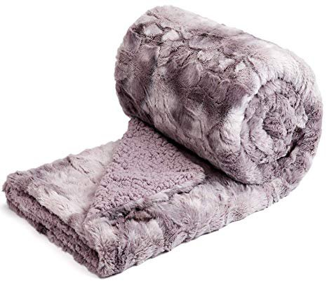 """NEWCOSPLAY Super Soft Faux Fur Throw Blanket Premium Sherpa Backing Warm and Cozy Throw Decorative for Bedroom Sofa Floor (Thick-Light Purple, Throw(50""""x60"""")): Home & Kitchen"""
