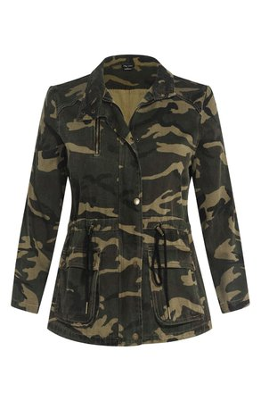 City Chic Camo Jacket (Plus Size) green brown