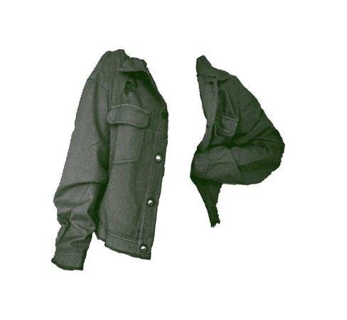 green tinted denim jacket