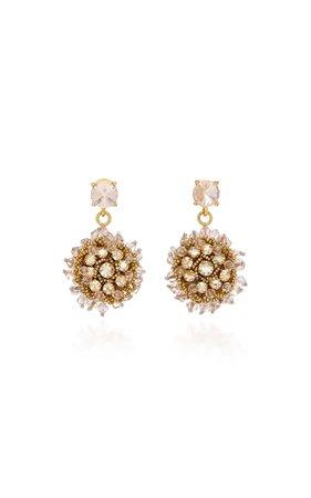 Oscar De La Renta Gold-Tone, Beaded And Crystal Clip Earrings