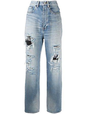 Balenciaga Ripped Detail Denim Jeans - Farfetch