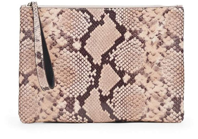 Snake Print Leather Wristlet Clutch
