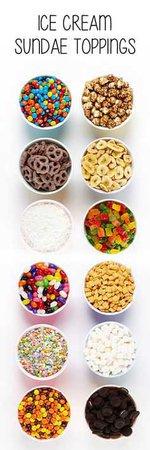 Ice Cream Sundae Toppings - Pinterest