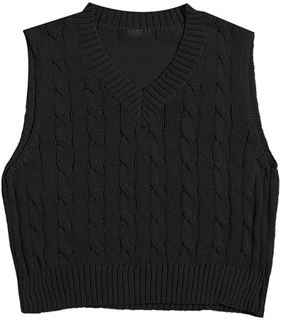 MakeMeChic Women's Solid V Neck Cable Knit Sweater Vest Sleeveless Crop Top at Amazon Women's Clothing store