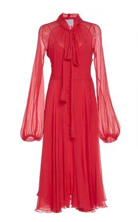 Luisa Beccaria Scarf Neck Midi Dress