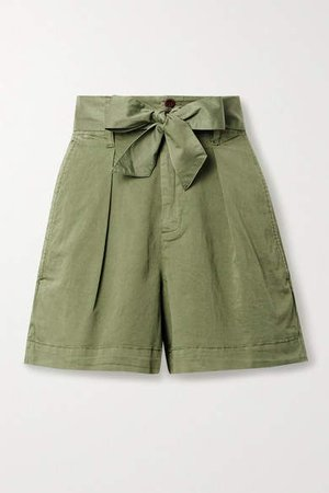 Expedition Belted Pleated Cotton-blend Poplin Shorts - Green