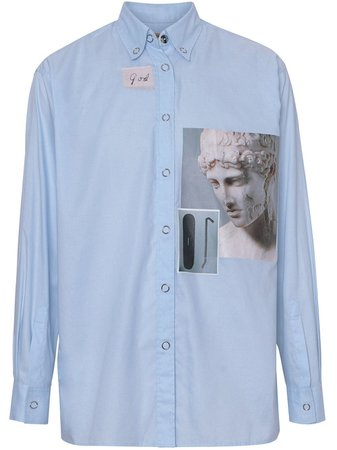 Burberry press-stud Collar Montage Print Shirt - Farfetch