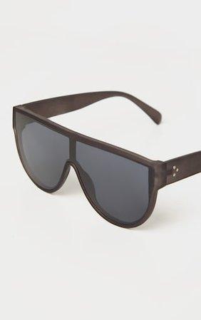 Black Matte Oversized Sunglasses | PrettyLittleThing