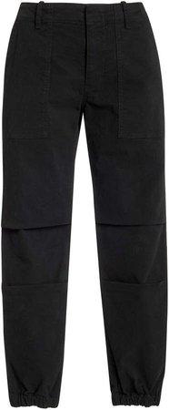 Cropped Stretch Cotton-Blend Slim-Leg Pants