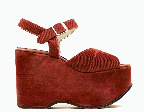 Vintage Red Corduroy Platform Sandals
