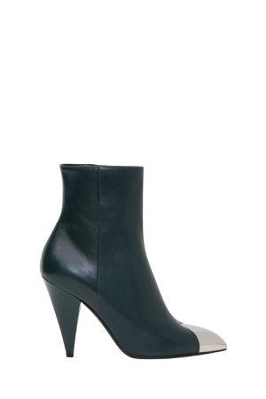 Celine Triangle Heel Boot With Metallic Toe Cap