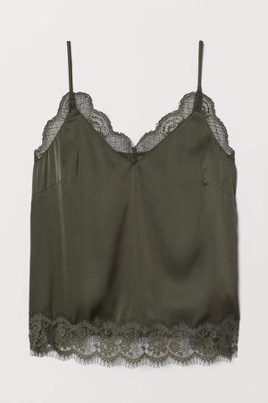 Satin Camisole Top with Lace - Green