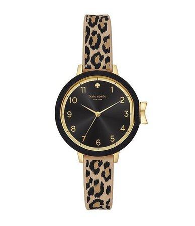 kate spade new york Park Three-Hand Leopard Print Silicone Watch | Dillard's