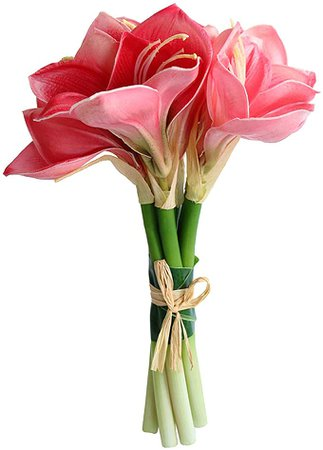 Amazon.com: Jasming Real Touch Artificial Amaryllis Bush Bridal Bouquets Wedding Centerpieces Home Decor Boutonnieres Corsage Real Touch Flowers Faux Lily (Pink): Home & Kitchen